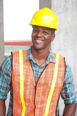 portrait of an African American construction worker on location Stock Photo - 13675840