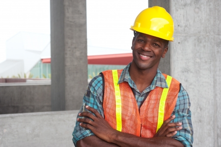 portrait of an African American construction worker on location photo
