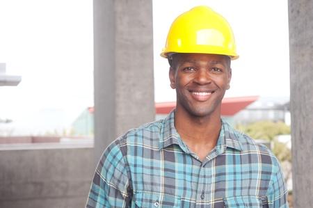portrait of an African American construction worker on location Standard-Bild
