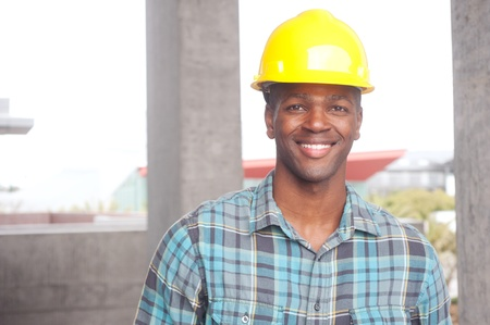 portrait of an African American construction worker on location Stock Photo - 13675675