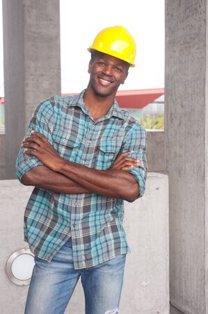 portrait of an African American construction worker on location Stock Photo - 13675820