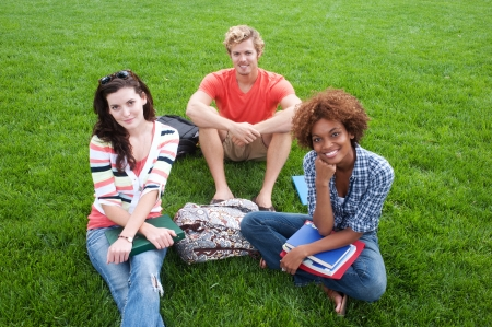 group of happy college students sitting in the grass photo