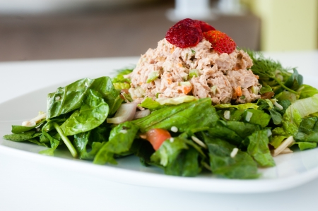 tun: fresh chopped tuna salad on a white plate topped with strawberries