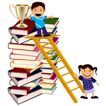 study concept: boy going up on stairs collecting of award