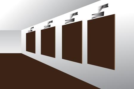 Blank advertising billboards in underground passage Vector