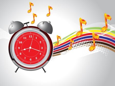 Red and Grey retro alarm clock detailed vector Vector