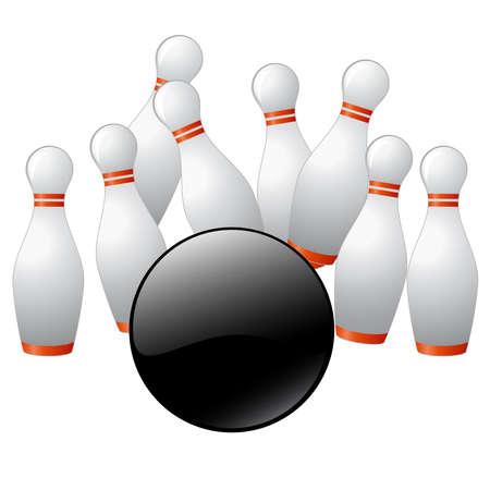 quilles: 3D render d'une boule de bowling percuter les quilles