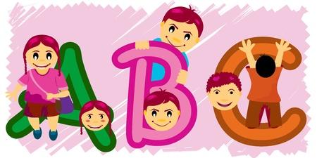 kids abc: Los ni�os y ABC con trazado de recorte
