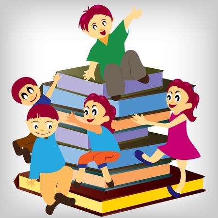 Garçon assis sur une pile de livres et la lecture