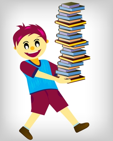 Boy Carrying A Stack Of Books  Stock Vector - 10080837