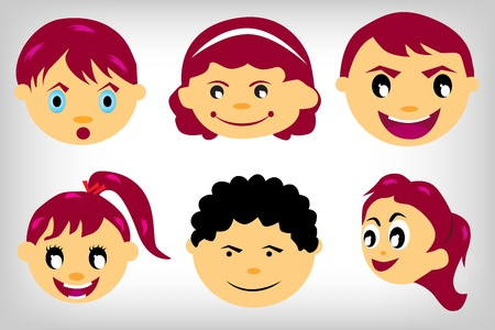 six Kids faces set on a white background Stock Vector - 10080829
