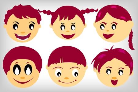 animated boy: six Kids faces set on a white background