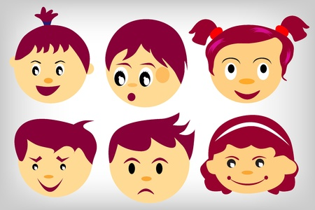 six Kids faces set on a white background Vector