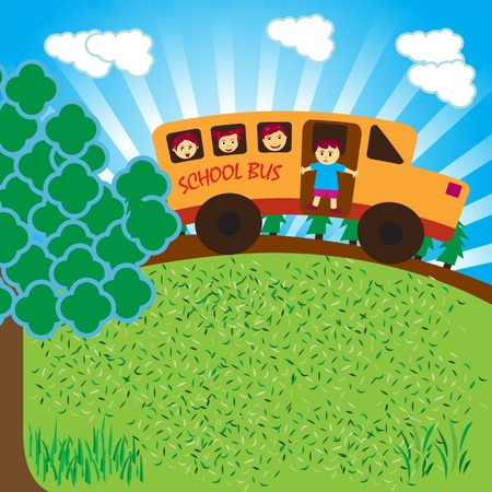 schoolbus: School bus on road - color illustration. Illustration