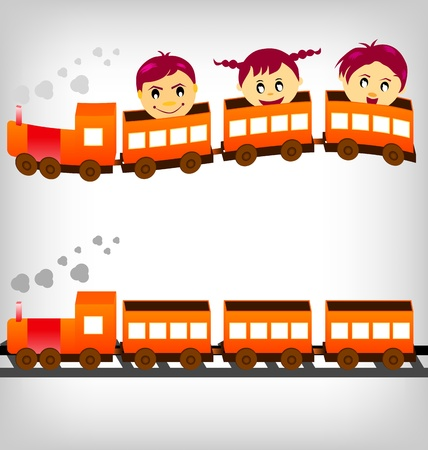 people traveling: Group of children having fun riding in a train.