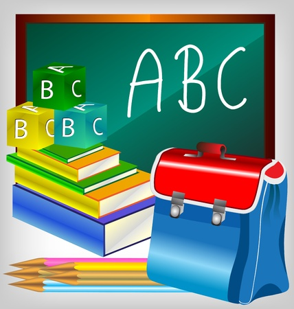 Blank blackboard with school accessories with copy space for your text. Vector