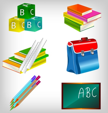 pencil box: Blank blackboard with school accessories with copy space for your text.
