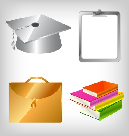 A set of four education related icons. Vector