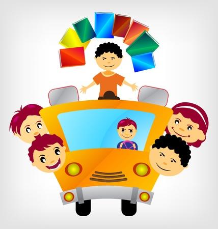 autoscuola: Scuola bus con bambini - illustrazione vettoriale.
