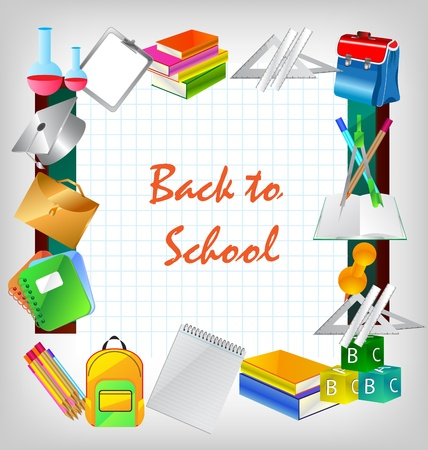 Back to school - frame background with education icons Stock Vector - 10135193