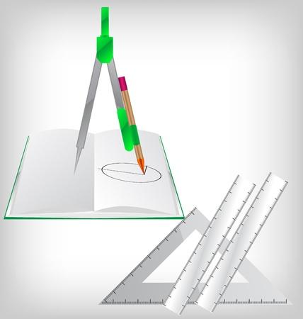 compasses: Macro of geometry tools lying on drawing Illustration