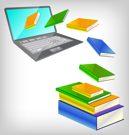 illustration of books coming out from laptop Stock Vector - 10135195