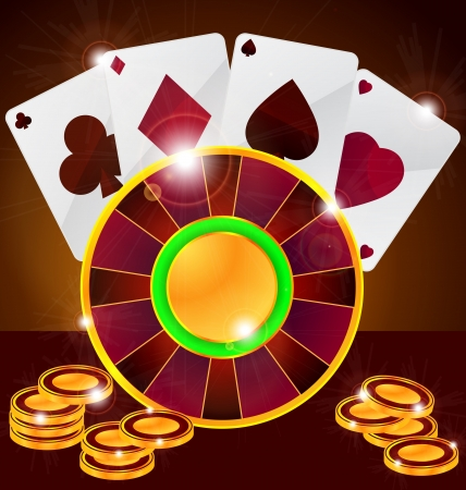 roulette table: Roulette table and casino elements.  Illustration