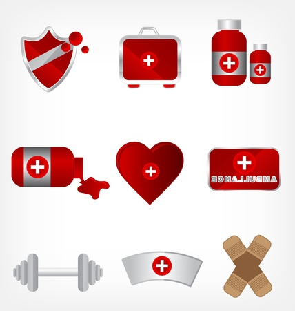 first aid kit: illustration - medical equipment icon set Illustration