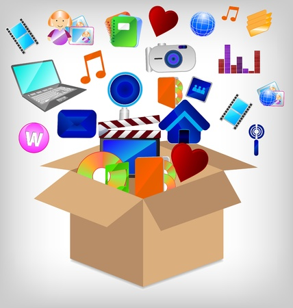 multimedia Video and Photo Icons in carton box. Vector