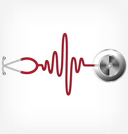 latidos del coraz�n: Estetoscopio y una silueta de la ECG Vectores