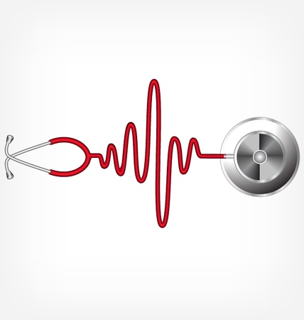 hjärtslag: Stetoskop och en siluett av EKG Illustration