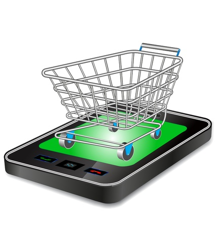 grocery: shopping cart trolley with smart phone Illustration