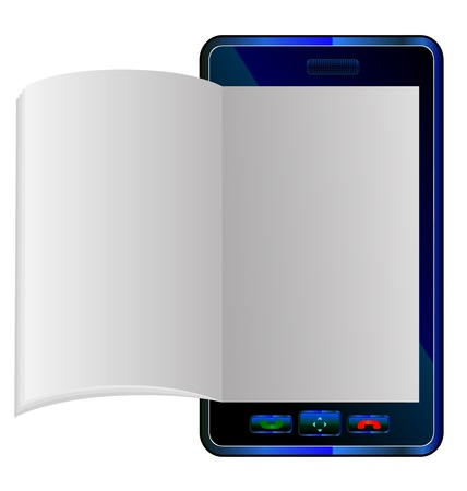 book in Smart phone of a realistically flipping e-book on an smartphone imaginary model Vector