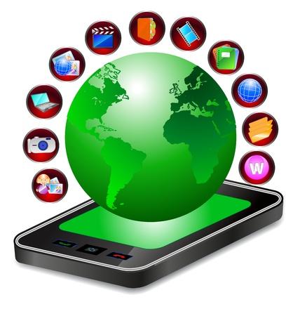 three dimensional: three dimensional mobile phone and world globe