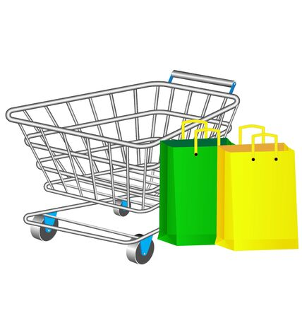 abatement: Shopping basket and colourful paper bags