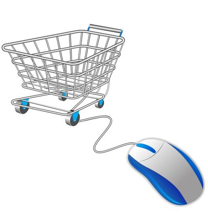 chrome cart: shopping cart trolley and computer mouse Illustration