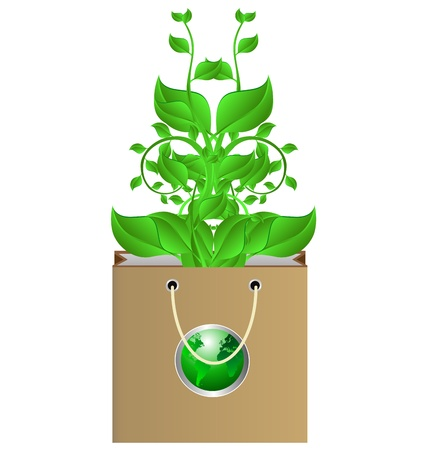 chlorophyll: Stock Photo: Green organic wheat grass in a brown bag.  Illustration