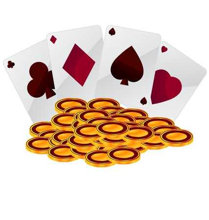 night suit: coins and playing cards on white background