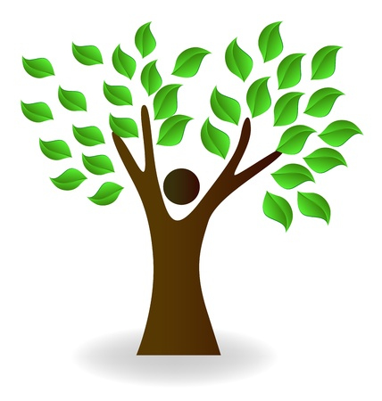 save environment: Eco man with green leaves in hands