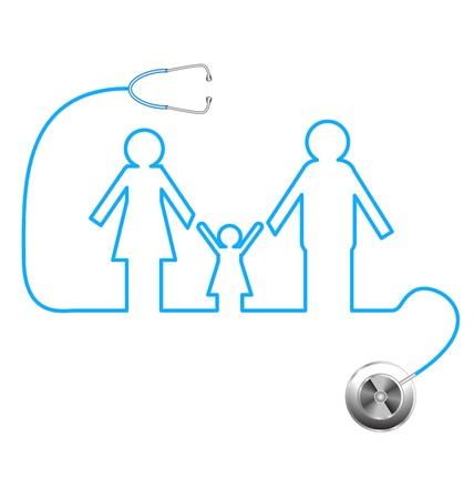 equipos medicos: ilustración del icono de la familia con el estetoscopio sobre fondo abstracto médica