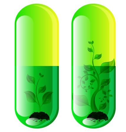 two designs natural pills with leaf Stock Vector - 10399812