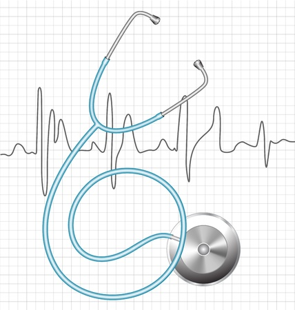 heart doctor: Stethoscope and a silhouette of the heart ECG
