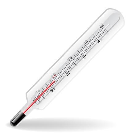 fiebre: Ilustraci�n de term�metro m�dico aislado en blanco