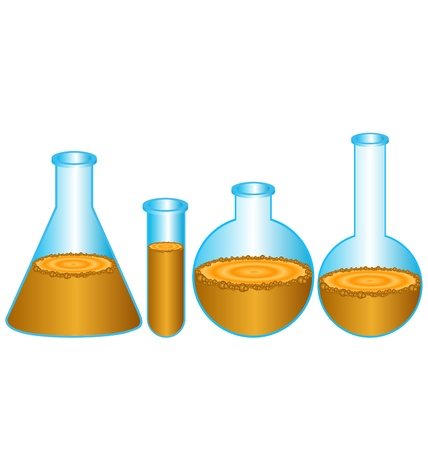 glassware: Test-tubes isolated on white. Laboratory glassware  Illustration