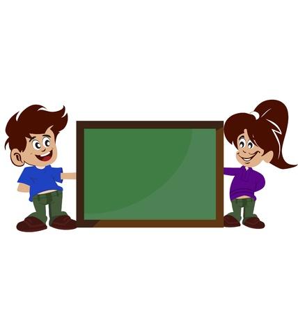 doodle art clipart: illustration of Blank Board Kids on white background Illustration