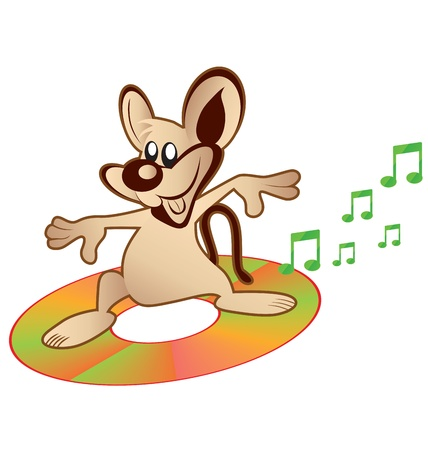 compact disc: cartoon of dancing rat on compact disc
