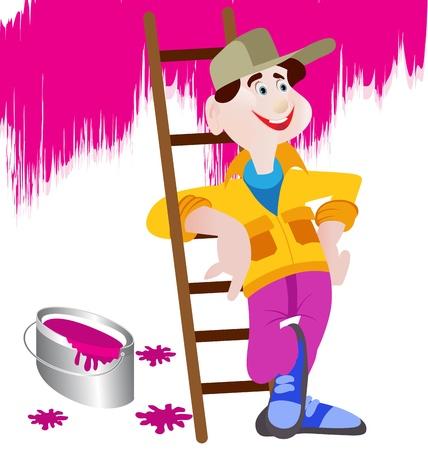 de klusjesman cartoon schilder teken op zijn werk Vector Illustratie