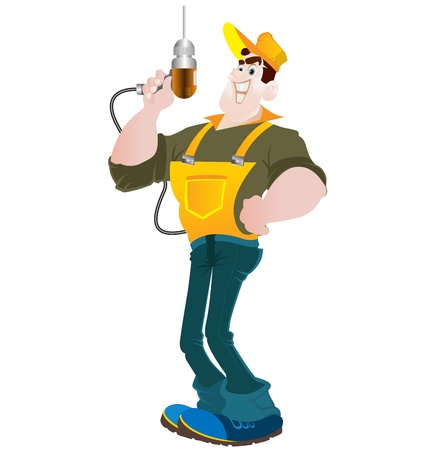 cartoon builder, rendering of services on the repair and construction Vector