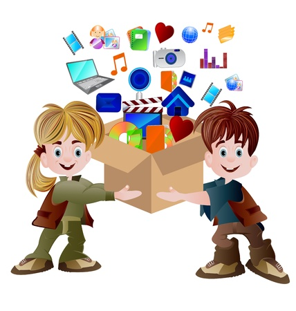 one girl and one boy with multimedia carton Vector