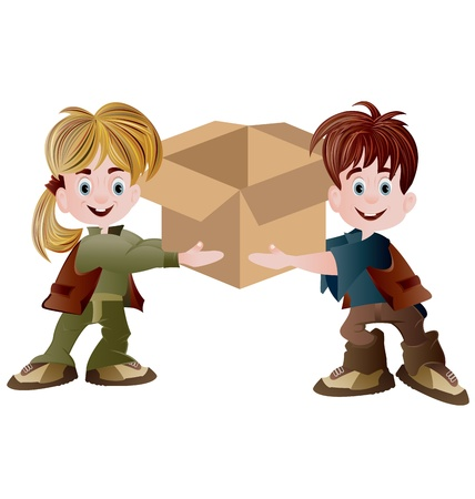 thumbsup: one girl and one boy holding blank carton Illustration